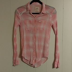 Hollister Button Down Creped Plaid Shirt Lace XS